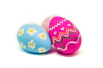 Perfect Easter eggs Hand Made. On white isolated background. Selective focus.