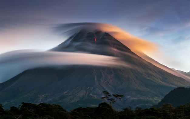 Perfect lenticular sky with lava volcano, merapi mountain indonesia yogyakarta 2
