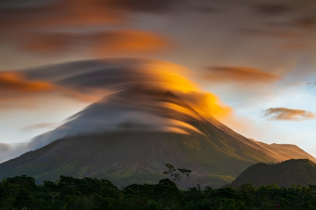 Perfect lenticular sky with lava volcano, merapi mountain indonesia yogyakarta