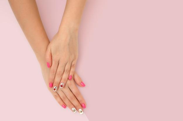 Perfect manicure gel art polish fashion design clean hand woman closeup