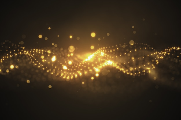 The perfect movement of the gold background. dust of the universe with stars on a black background. motion of abstract particles. 3d illustration