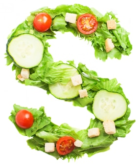 Perfect salad with the letter s