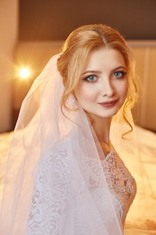 Perfect wedding day of woman bride, portrait