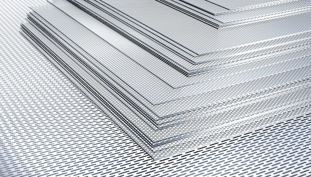 Perforated sheet steel sheets. 3d render