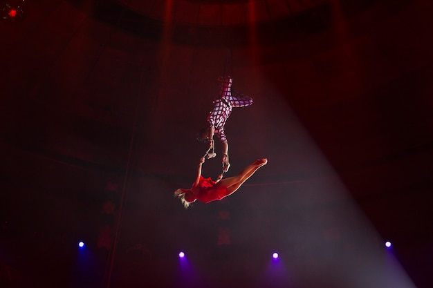 Performance of aerialists in the circus arena.