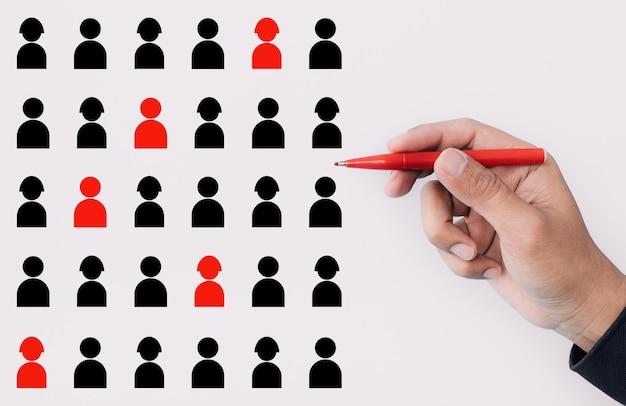 Концепции управления производительностью и человеческими ресурсами с менеджером или генеральным директором, выбранным персоналом, подписываются для создания команды. развитие бизнеса и идеи конкуренции