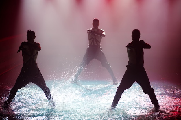 Performance on the water of a dance group against club light.