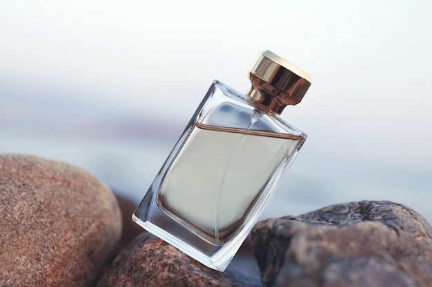 Perfume on the background of the sea
