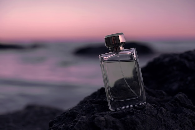 Perfume bottle on the bech.