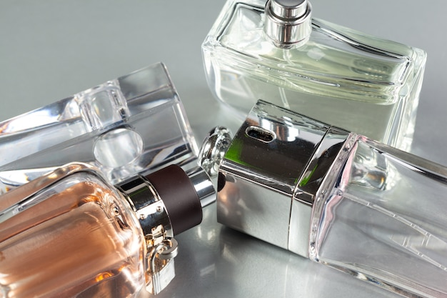 Perfume bottle on a dark background