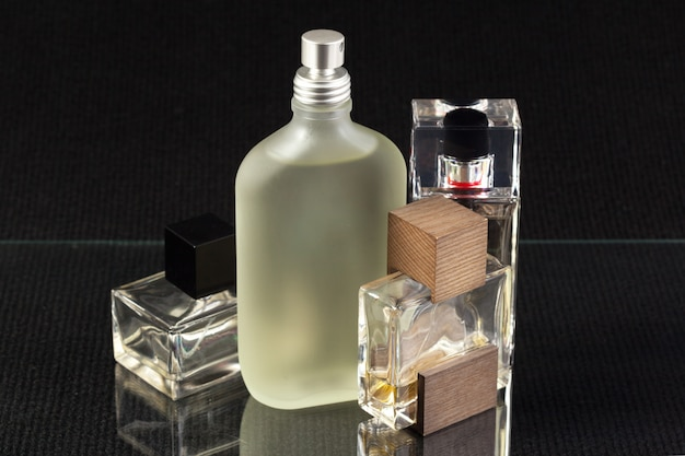 Perfume bottle on dark