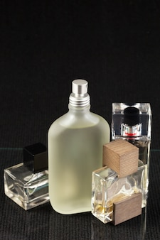 Perfume bottle on a dark