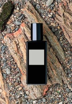 Perfume bottle on a natural background of tree bark and stones, top view. beauty and fashion, perfume template