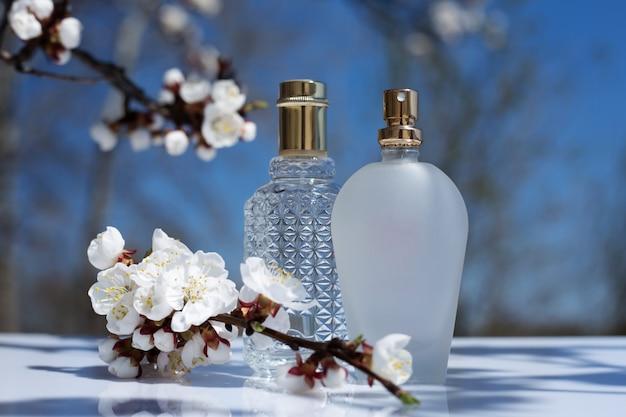 Perfume bottle on nature