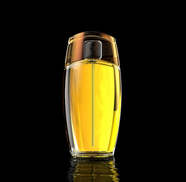 Perfume bottle with black background