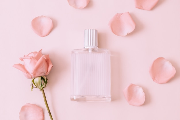 Perfume bottle with rose petal