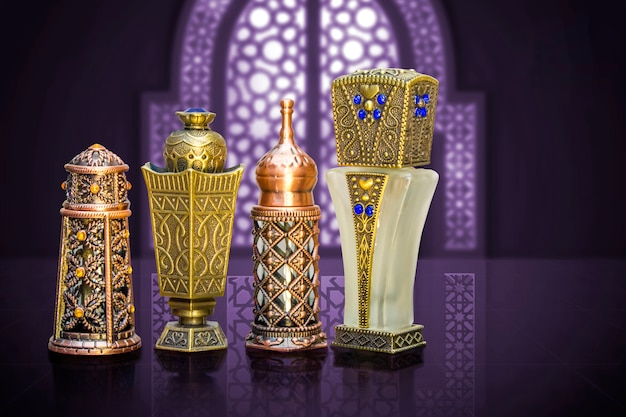 Perfume bottles of beautiful arabic islamic style
