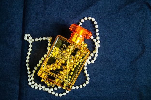 Perfume bottles and fragrances with beautiful jewelry