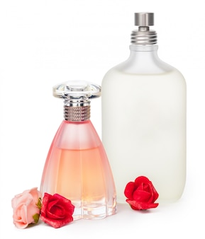 Perfume bottles isolated against a white background