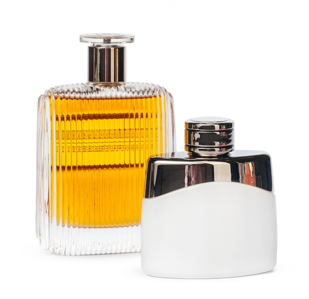 Perfume bottles isolated against a white