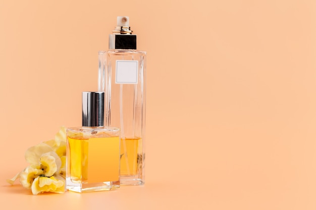Perfume bottles with flowers petals on beige background