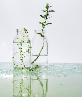 Perfumed water and herbs on a mirror table