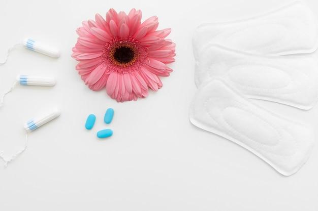 기간 월경 여성 통증 위생 탐폰 패드 진통제 알약주기 부인과 위생 개념