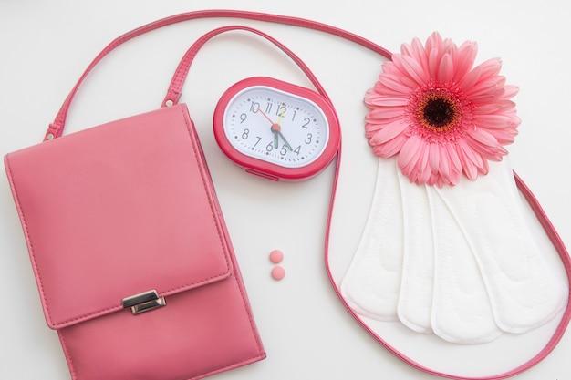 기간 시간 여성 월경 제어 건강주기 알약 패드 위생 호르몬 균형 개념