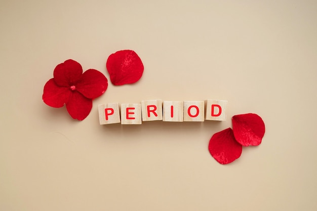 Period word on wooden block, letters with red flowers. abstract menstruation and woman's health concept. top view.
