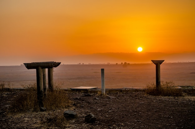 Periscopes of the tel saki fortifications from the yom kippur war in israel at sunset