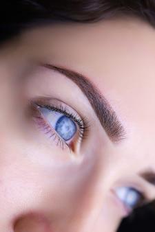 パーマネント眉メイクのクローズアップ。青い目のモデルの女の子