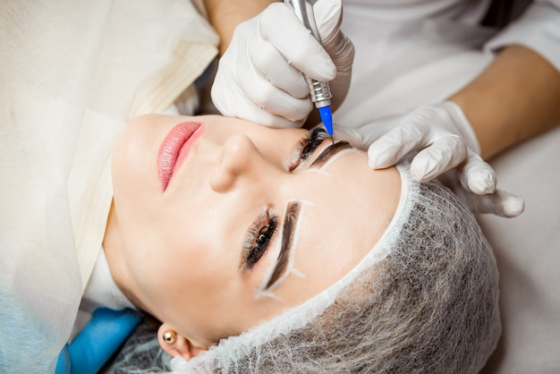 Permanent makeup for eyebrows.