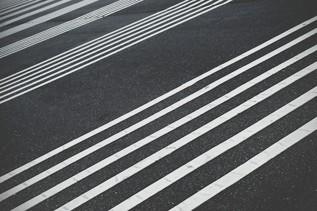 Perpendicular white line on the road