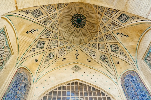 Persian dome ceiling brick and mosaic tiles pattern