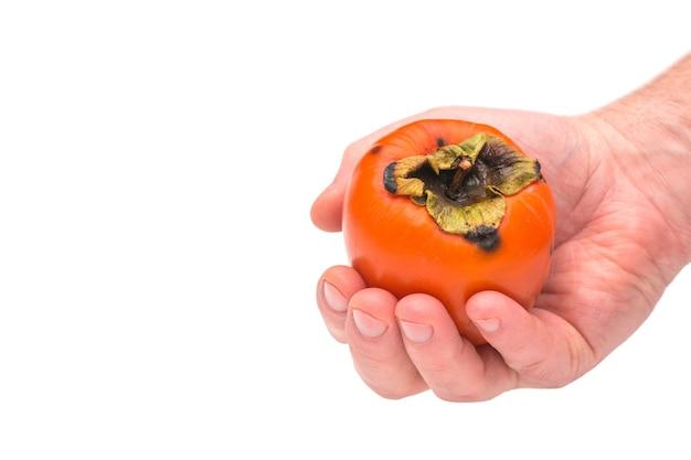 白い背景の上の柿の果実