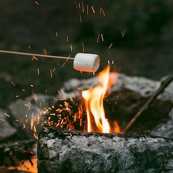 Persona che brucia marshmallow nel fuoco da campo