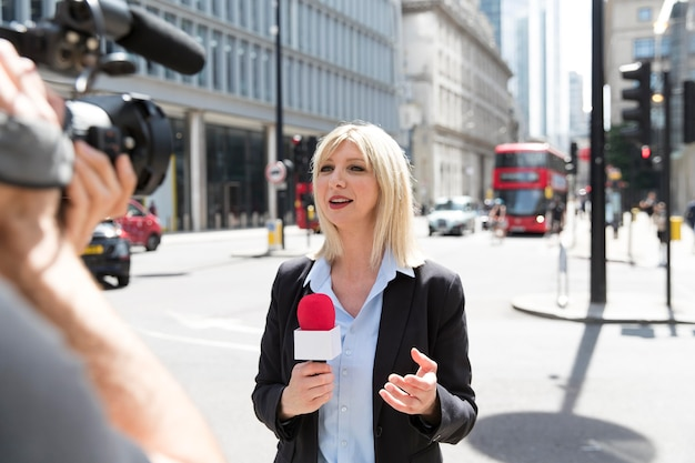Person conducting an interview