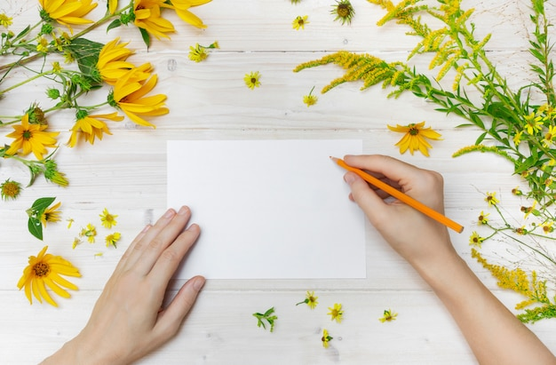 A person drawing on a white paper with an orange pencil near yellow flowers on a wooden surface