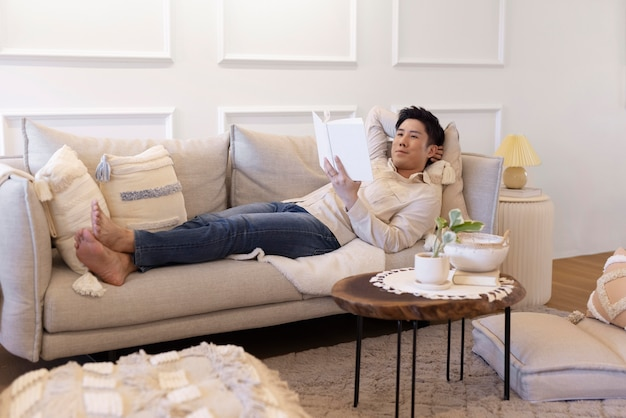 Person enjoying relaxing time at home