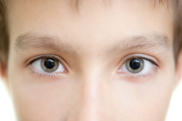 The person and eyes of the boy