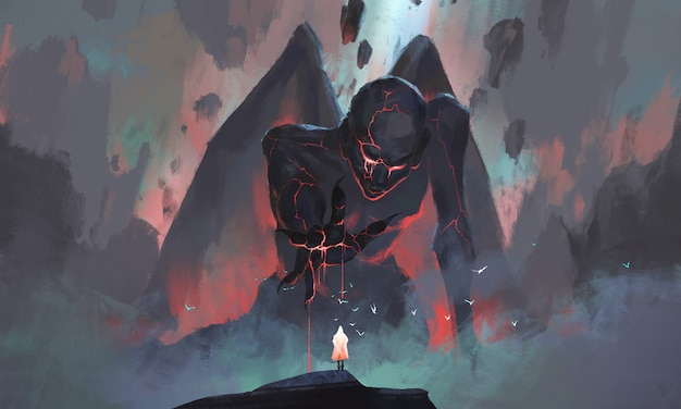 A person faces a monster rising from the ruins illustration.