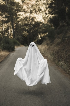 Person in ghost costume hanging in air