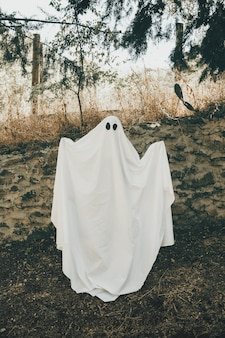 Person in ghost costume standing in forest with hands up
