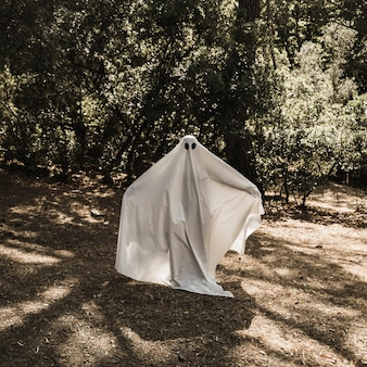 Person in ghost costume standing in forest with stretched arms