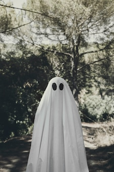 Person in ghost costume standing in grove