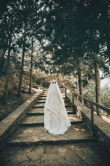 Person in ghost costume walking down stairs