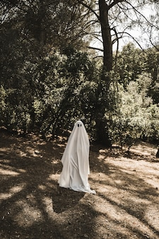 Person in ghost costume walking in forest