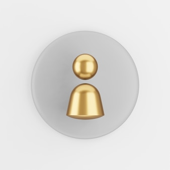 Person golden symbol icon. 3d rendering gray round key button, interface ui ux element.