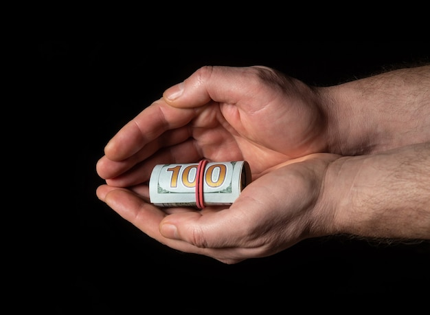 Person hands with dollars in hand