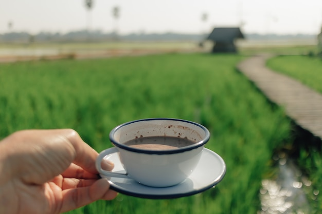 Person hold a coffee with a view of green rice field in concept of relax.